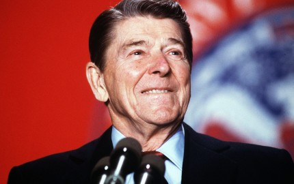 President Ronald Reagan is all smiles during a speech on January 27, 1988.   ( Carol Powers / The Washington Times )