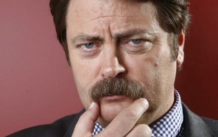 "This Oct. 11, 2012 photo shows actor Nick Offerman from ""Parks & Recreation"" poses for a portrait in New York.  Offerman shares the same deadpan delivery as his character Ron Swanson and is a guy's guy, who loves carpentry. He even has a woodshop in Los Angeles. Besides NBC's ""Parks and Rec,"" He has a live, musical-comedy review called ""American Ham"" and a new small film ""Smashed"" starring Aaron Paul and Mary Elizabeth Winstead. (Photo by Carlo Allegri/Invision/AP)"