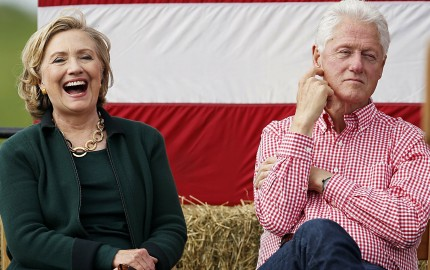Hillary and Bill Clinton at Harkin Steak Fry in Indianola, Iowa, in September