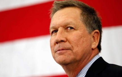 Gov. John Kasich, R-Ohio, speaks at the Republican Leadership Summit Saturday, April 18, 2015, in Nashua, N.H. (AP Photo/Jim Cole)