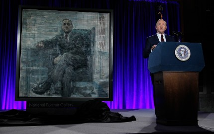 """WASHINGTON, DC - FEBRUARY 22: Kevin Spacey speaks on stage at the portrait unveiling and season 4 premiere of Netflix's """"House Of Cards"""" at the National Portrait Gallery on February 22, 2016 in Washington, DC.  (Photo by Paul Morigi/Getty Images For Netflix)"""