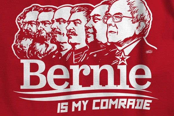 From left to right: Karl Marx, Frederic Engles, Vladimir Lenin, Joseph Stalin, Mao Ze Dong, and Bernie Sanders
