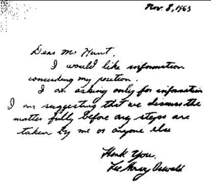 Document with Oswald's signature forged by the KGB