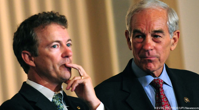 Ron Paul enthusiastically endorses son Rand Paul for President.