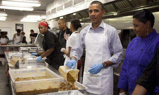 Obama soup kitchen 9-11