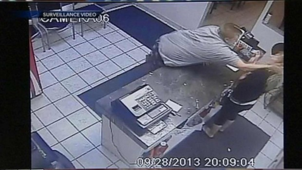 Angry, Shoeless Beatdown in Pizza Store Rampage with a Pit Bull Twist! (VIDEO)