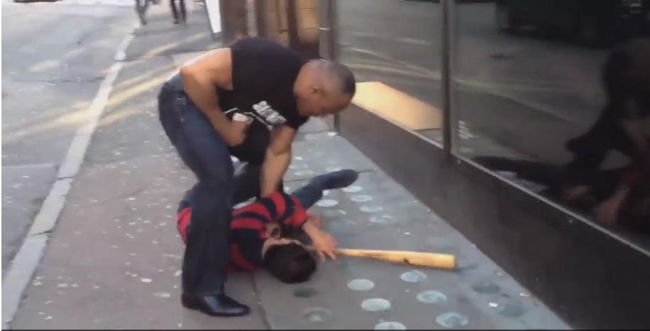 Big Muscley-armed Black Dude Calmly Disarms Thug Swinging Baseball Bat