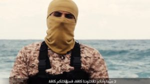"""""""The most obvious is the speaker, 'Jihad Joseph' is much larger than the sea in both the close up and wide shots, and his head is bizarrely out of proportion, meaning he was filmed indoors and the sea added behind him"""", Said Kahn."""