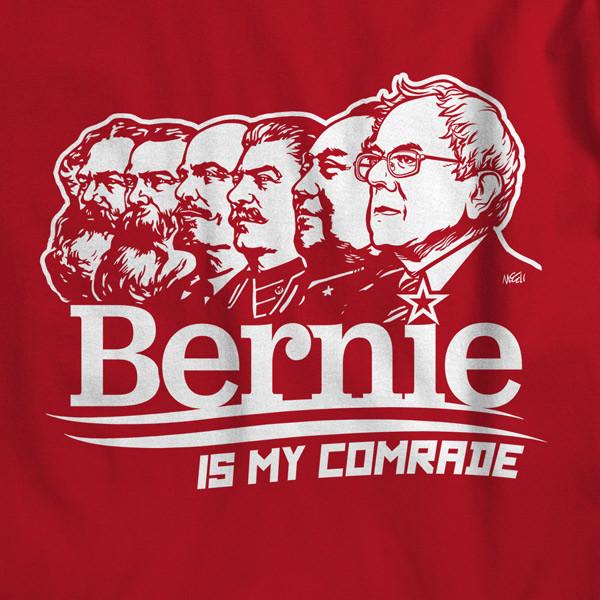 From left to right: Karl Marx, Frederic Engles, Vladimir Lenin, Joseph Stalin, Mao Ze Dong, and Bernie Sanders