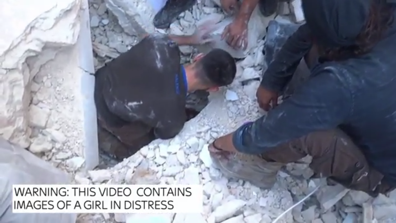 Video Shows Incredible Rescue Of Girl Buried Alive In Syrian Airstrike