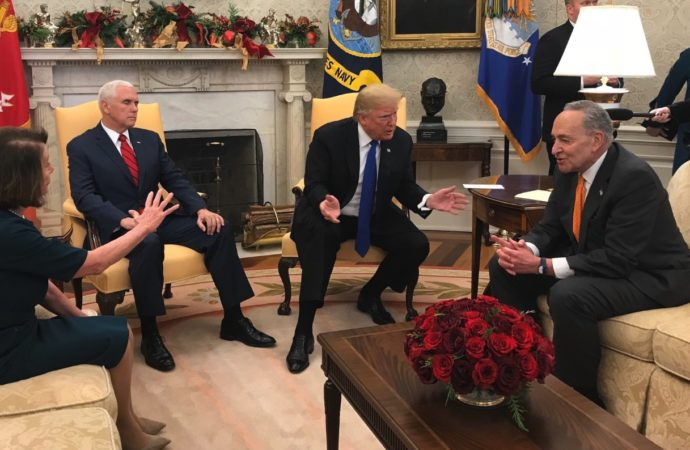 Mike Pence Sat Silently With Eyes Closed while Trump Trolled Pelosi, Schumer, and Everyone