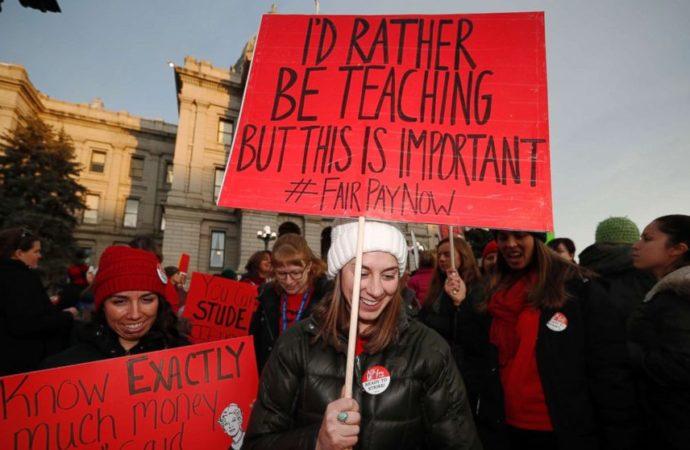 Crowd of Denver Teachers on Strike Rally Outside of Capitol Building in Denver